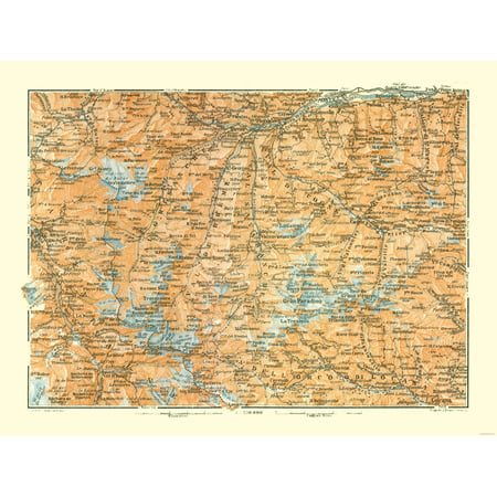 Map Of Italy With Mountains.International Map Mountains France Italy Bertarelli 1914 30 37 X 23