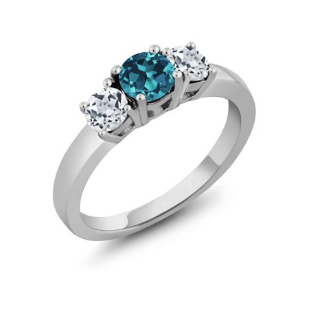 1 November Halloween Party London (1.21 Ct Round London Blue Topaz White Topaz 925 Sterling Silver 3-Stone)