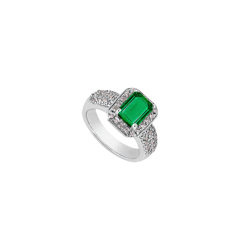 Jewelry Emerald Cut Simulated Emerald and CZ Ring in White Gold 14K Total Gem Weight of 2.75 Carat - image 1 de 1