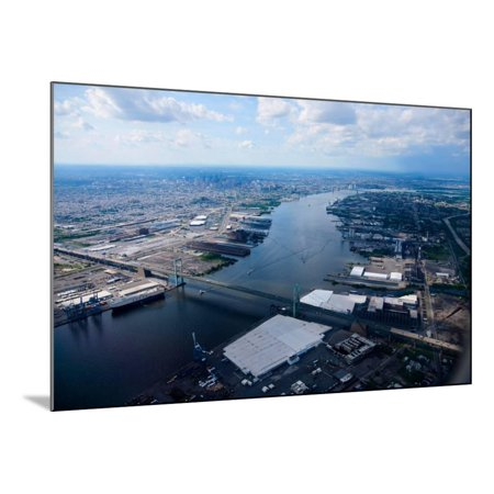 Aerial view of Walt Whitman Bridge crossing Deleware River in Philadelphia, PA Wood Mounted Print Wall (Crossings In Pa)