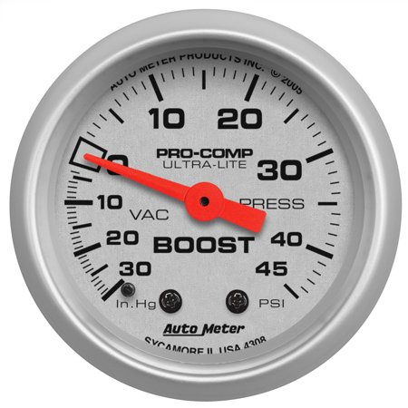 AutoMeter 4308 Ultra-Lite Mechanical Boost/Vacuum Gauge; 2-1/16 in.; Silver Dial Face; Fluorescent Red Pointer; White Incandescent Lighting; Mechanical; 30 IN HG/45 PSI; ()