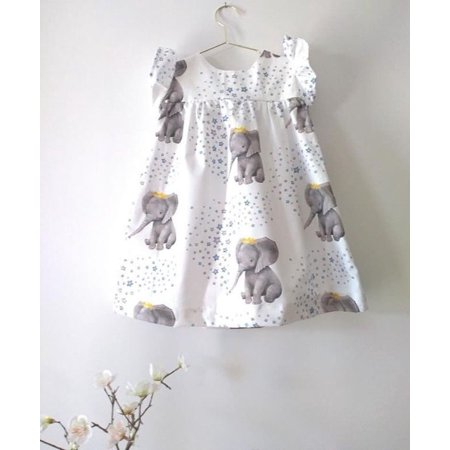 Toddler Baby Girls Summer Ruffle Elephant Princess Party Dress Clothes Sundress