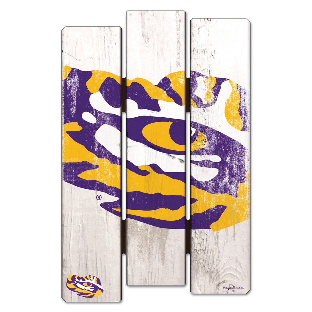 LSU Tigers Official NCAA 11 inch  x 17 inch  Wood Fence Sign by Wincraft