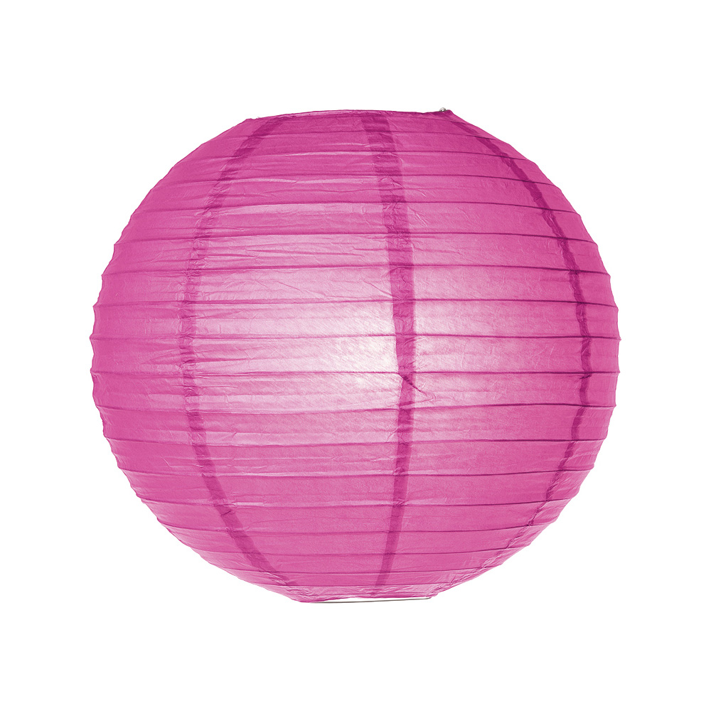 Luna Bazaar Paper Lantern (14-Inch, Parallel Style Ribbed, Dark Pink) - Rice Paper Chinese/Japanese Hanging Decoration - For Home Decor, Parties, and Weddings