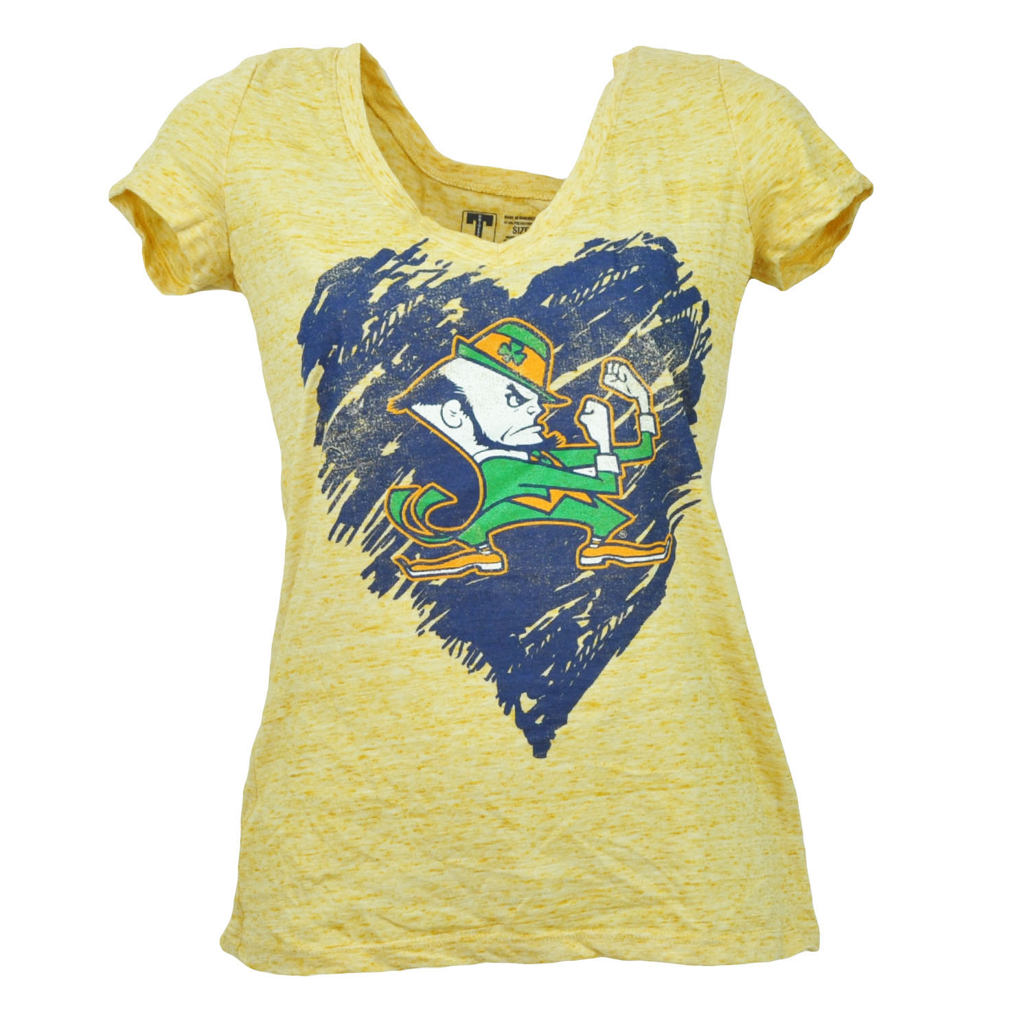 NCAA Notre Dame Fighting Irish Heart Tshirt Tee Womens V Neck Short Sleeve XLarg