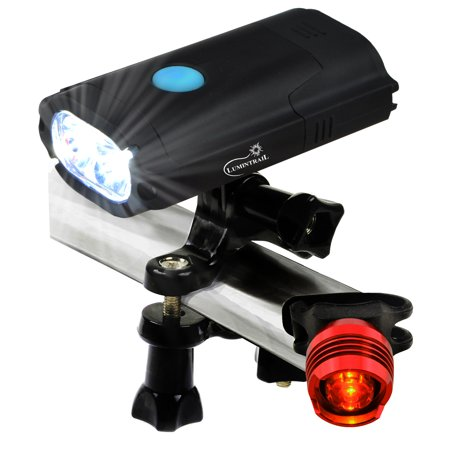 Lumintrail USB Rechargeable 800 Lumen LED Bike Light with Tail Light and Secure Tool Free