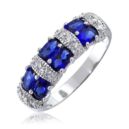 - AAA CZ Vintage Style Royal Blue Simulated Sapphire Anniversary Wedding Band Ring For Women 925 Sterling Silver