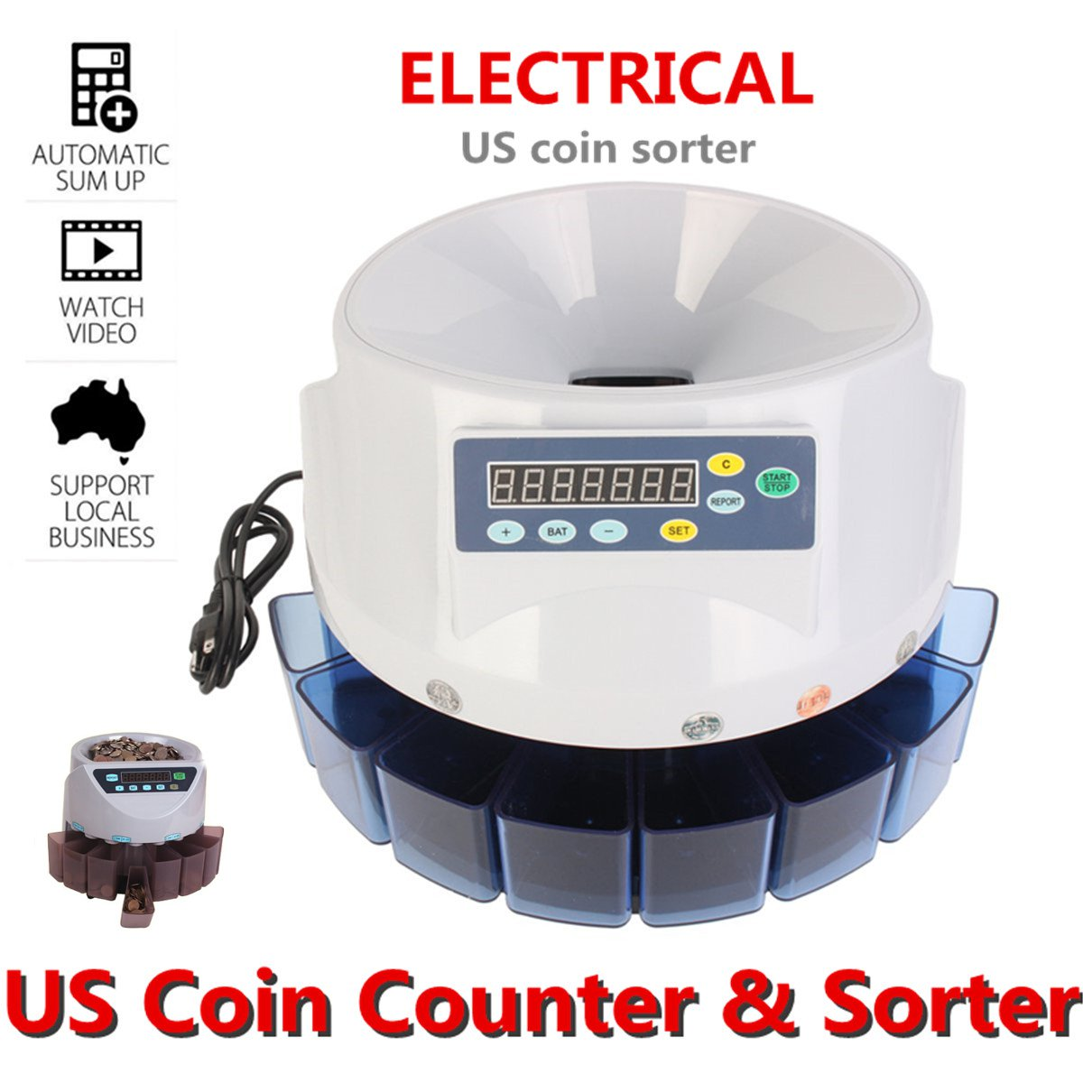 US Coin Change Sorter Machine Money Counter Sort Automatic Electronic Digital