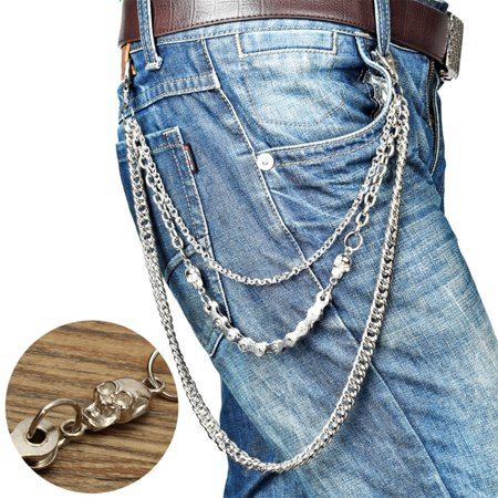 3 Layers Silver Mens Bicycle Chain Wallet Chains Biker Trucker Punk Hiphop Jean Chain Bullet Wallet Chain