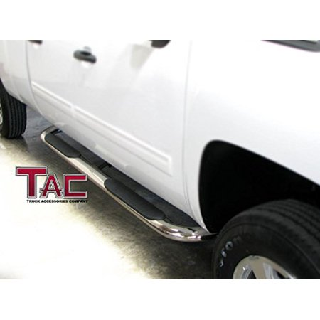"""TAC Side Steps for 2005-2018 Toyota Tacoma Double Cab Truck Pickup 4"""" Oval Bend T304 Stainless Steel Side Bars Nerf Bars Running Boards"""