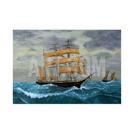 Original Artwork, Clipper Ships at Sea, Oil Painting on Board Print Wall Art By TerraceStudio