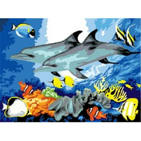 269283 Junior Large Paint By Number Kit 15.25 in. X 11.25 in. -Dolphins Dolphins Paint By Number