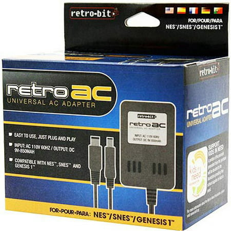 RETRO-BIT AC Power Adapter (NES/SNES/Genesis) RETRO-BIT AC Power Adapter (NES/SNES/Genesis):3-in-1 adapterInput: AC 120V, 60HzOutput: DC 9V-850mAIdeal replacement for lost or broken adapterEasy to use, just plug and playCompatible with NES, SNES and Genesis one gaming consolesGenesis adapter is black in color