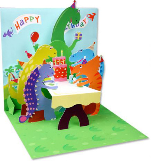 Up With Paper Dinosaurs Pop-Up Birthday Card