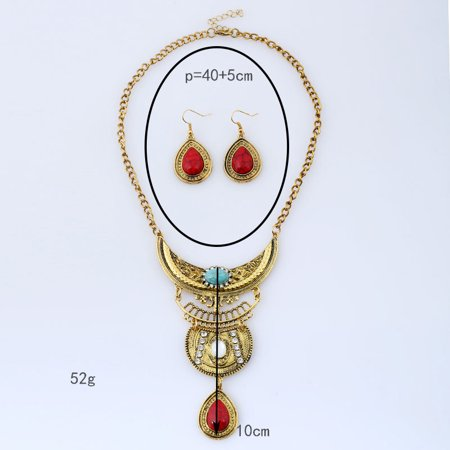 Women Vintage Boho Jewelry Set Multilayer Alloy Gemstone Pendant Bib Statement Necklace and Earrings Set - image 4 of 8