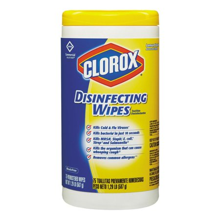 Branded Clorox Disinfecting Wipes, Lemon Fresh (75 ct  each, 6 pk ) - Sugar  Free [Qty Discount / Wholesale Price]