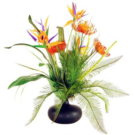 Lcg florals tropical garden silk flowers with ceramic vase orange lcg florals tropical garden silk flowers with ceramic vase orangepurple mightylinksfo