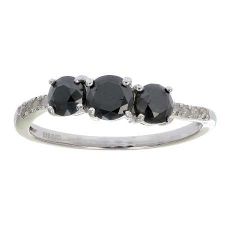 1 CT 3 Stone Black and White Diamond Ring With Twist Sterling Silver