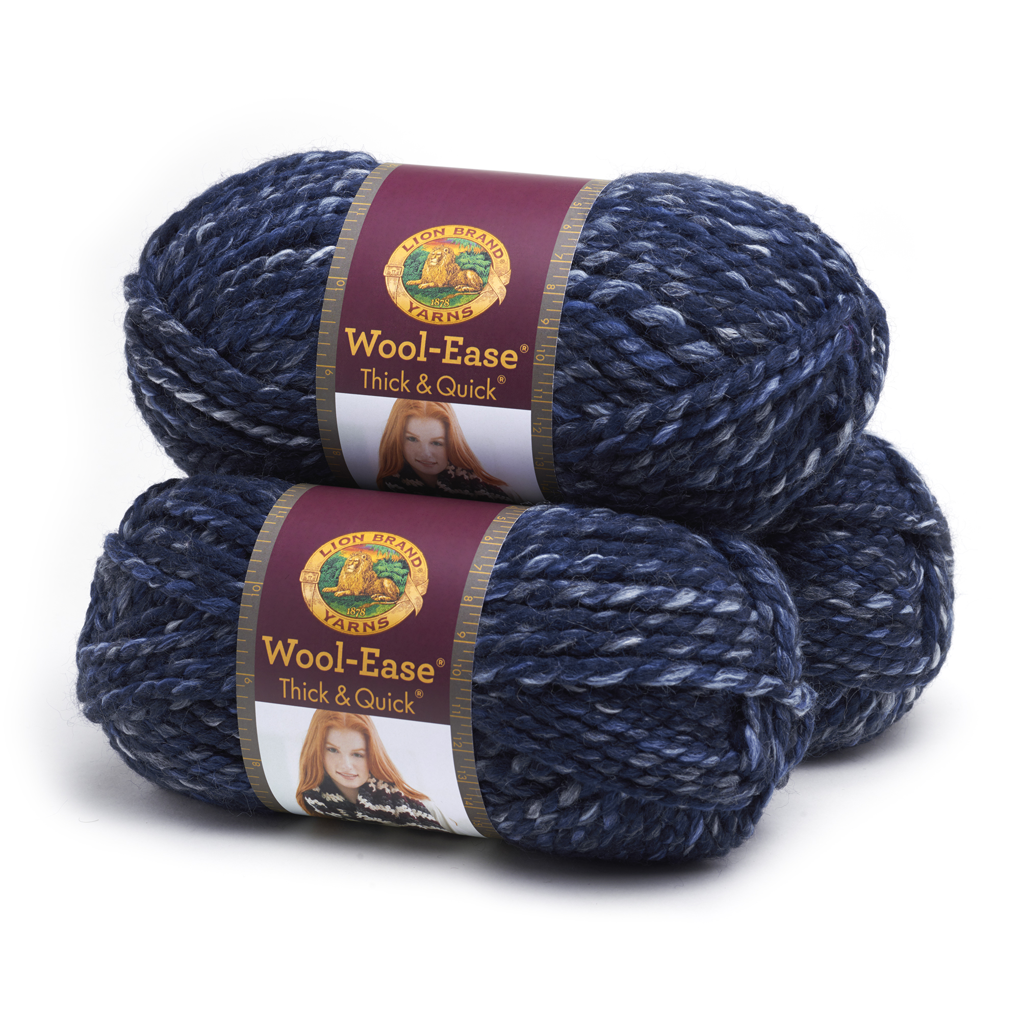 Lion Brand Yarn Wool-Ease Thick & Quick River Run 640-535 3-Pack Classic Wool Yarn