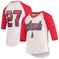 Mike Trout Los Angeles Angels 5th & Ocean by New Era Girls Youth Player Pinstripe Raglan 3/4-Sleeve T-Shirt - White/Red
