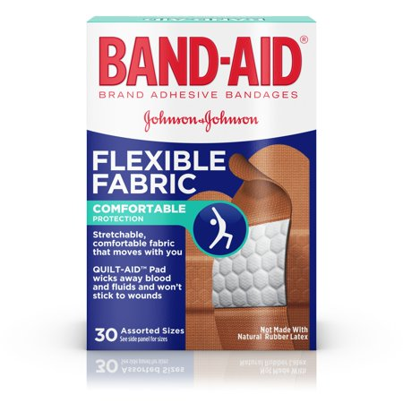 BAND-AID ® Brand Flexible Fabric Adhesive Bandages for Minor Wound Care, Assorted Sizes, 30 Count