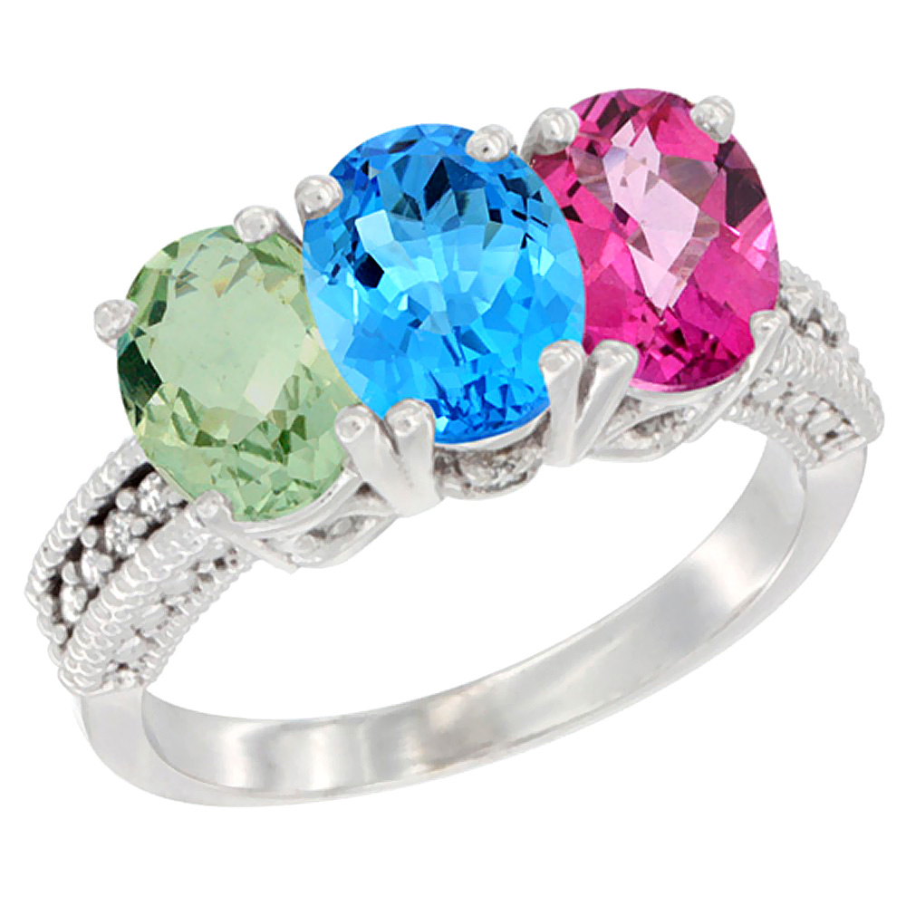 14K White Gold Natural Green Amethyst, Swiss Blue Topaz & Pink Topaz Ring 3-Stone 7x5 mm Oval Diamond Accent, sizes 5 10 by WorldJewels