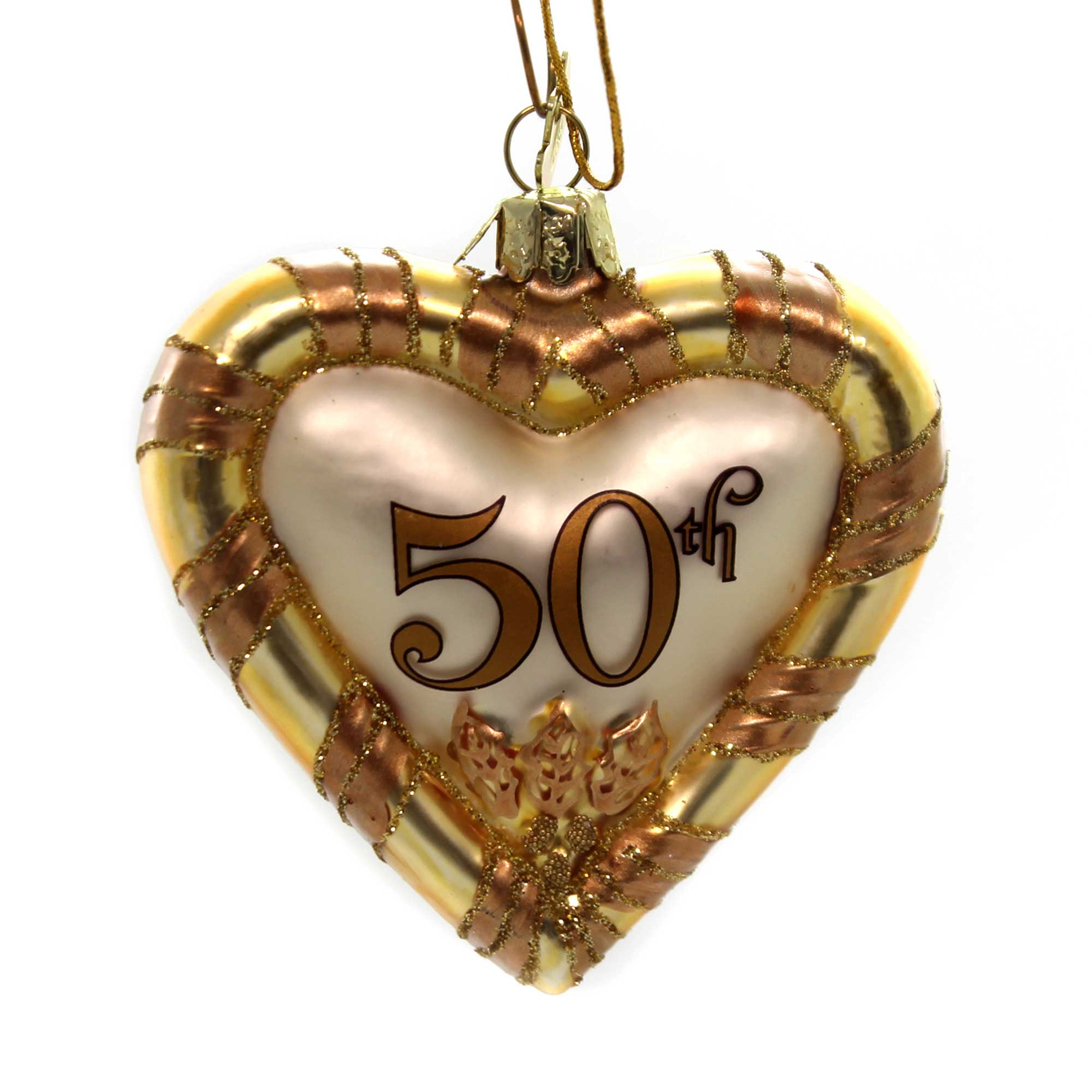 Noble Gems ANNIVERSARY HEART ORNAMENT Glass Marriage Love 50Th