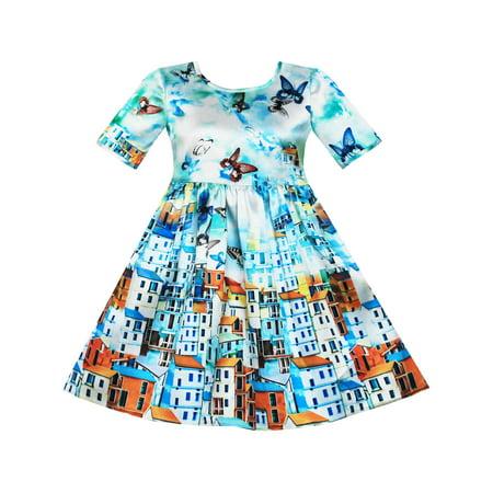 Girls Dress Satin Blue Sky Butterfly City Building Print - Girls Butterfly Dress