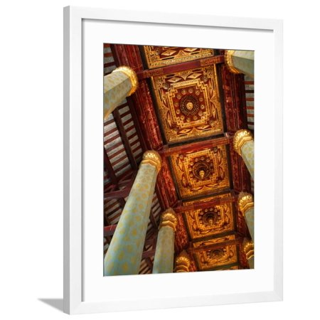 Blue Hexagonal Columns Supporting Ornate Ceiling, Ayuthaya Historical Park, Thailand Framed Print Wall Art By Tom Cockrem