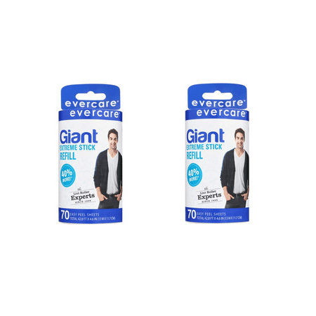 Mini Lint Roller - (2 Pack) Evercare Giant Lint Roller Refill, 70 Sheets