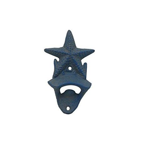 Rustic Light Blue Cast Iron Wall Mounted Starfish Bottle Opener 6