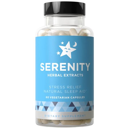 SERENITY Natural Sleep Aid, Stress & Anxiety Relief - Relaxes Mind & Body, Fall Asleep Fast Without Waking Up Groggy - Non-Habit Forming - Magnesium, Valerian, Chamomile - 60 Vegetarian Soft