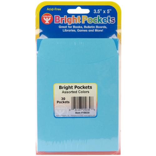 "Mighty Bright Pockets 3.5""X5"" 30 Pkg-Assorted Colors by Hygloss"
