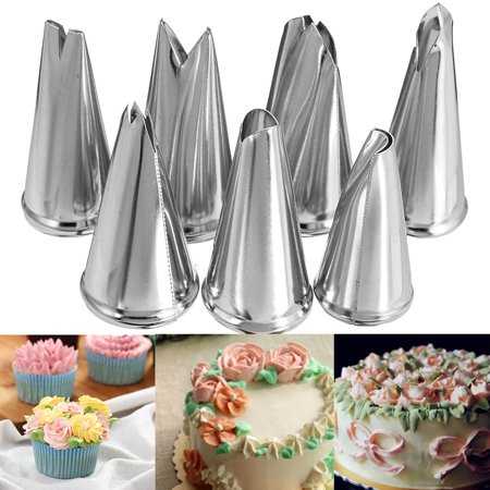 Marsin 7pcs Russian Cake Icing Piping Nozzles Set Tools Kit ,Cake Decorating Supplies Tips, Professional Stainless Steel Pastry Cookie Sugar Macaron Cupcake Decorating - Halloween Sugar Cookie Icing Recipe