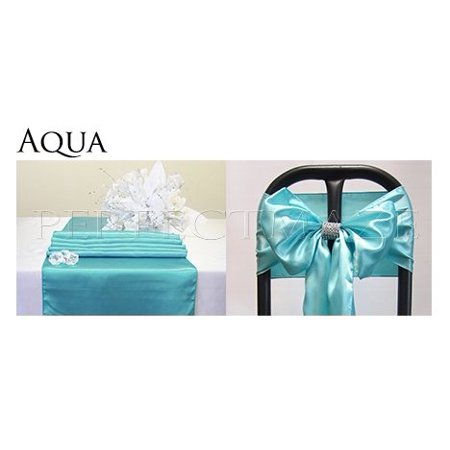 Perfectmaze Satin Party Combo Kit (1 Table Runner / 1 Chair Sash Bow) for Wedding Party Event Decoration 20 Colors+ (Wedding Anniversary Stein)