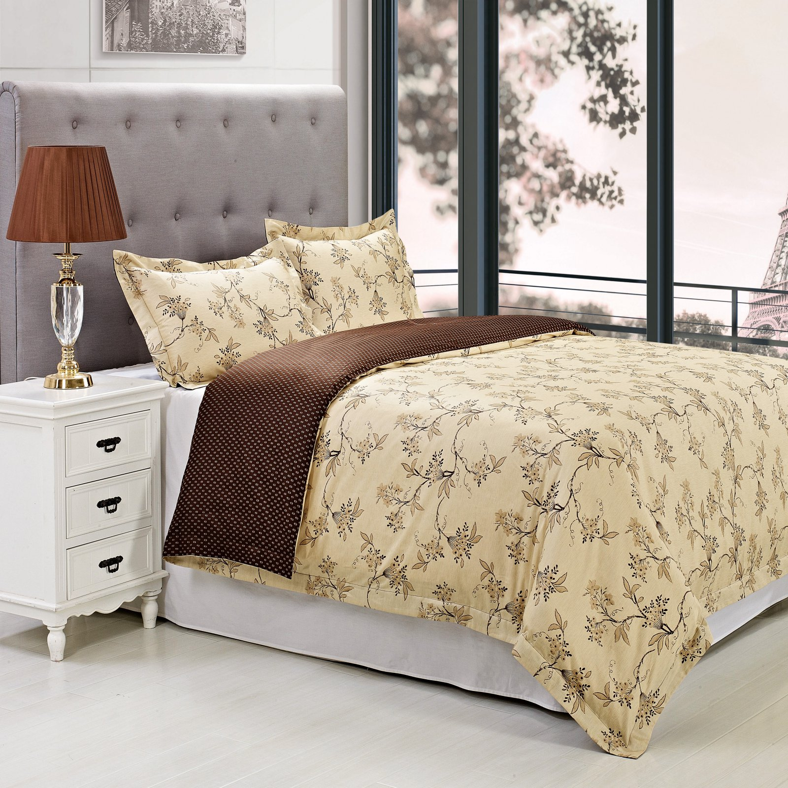 Superior Woodhaven Reversible 300 Thread Count Cotton Reactive Print Duvet Cover Set