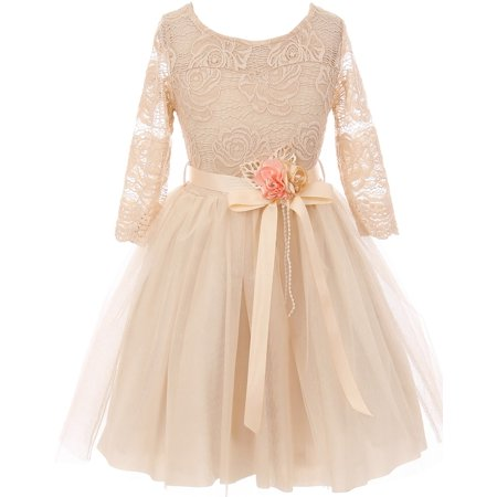 Big Girls' Long Sleeve Girls Dress Floral Lace Roses Corsage Christmas Flower Girl Dress Champagne 12 (J20KS98) - Christmas Dresses For Girls Size 10 12