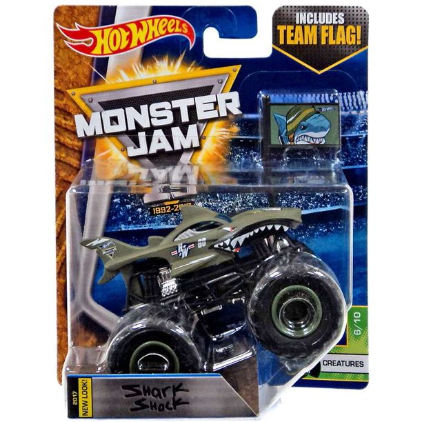 Hot Wheels Monster Jam 25 Shark Shock Diecast Car Creatures Walmart Com Walmart Com