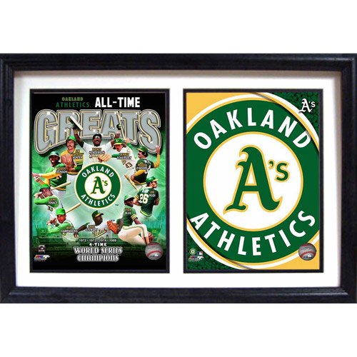 """MLB Oakland A's Greats 12"""" x 18"""" Double Frame"""