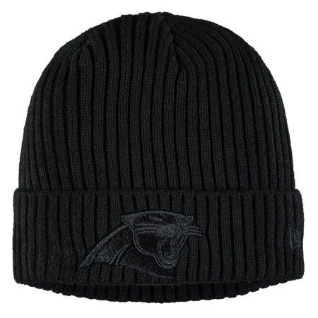 Carolina Panthers Hat (Carolina Panthers New Era Youth Core Classic Black on Black Cuffed Knit Hat - Black - OSFA)