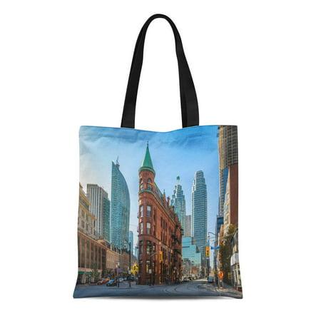 ASHLEIGH Canvas Tote Bag Blue Gooderham Flatiron Building in Downtown Toronto Ontario Canada Durable Reusable Shopping Shoulder Grocery Bag (Halloween Stores Ontario)