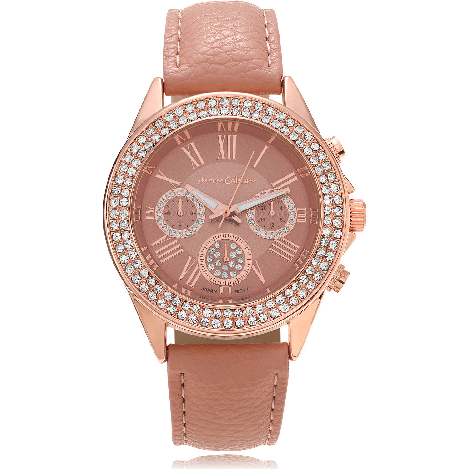 Journee Collection Women's Rhinestone Roman Numeral Leather Strap Fashion Watch, Blush/Rose Gold