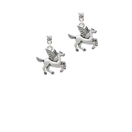 Silvertone Medium Pegasus Clear Crystal Post - Pegasus Earrings