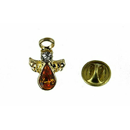 November Crystal Birthstone Guardian Angel Lapel Pin Brooch Tie Tack