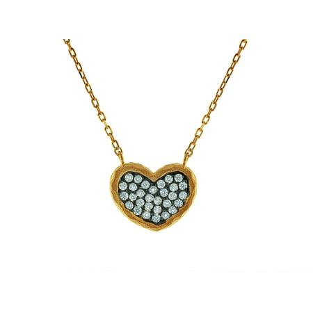 Black Vermeil Pendant - Sparkling Cubic Zirconia Black Hammered Heart Pendant Necklace in Vermeil, 15 + 2