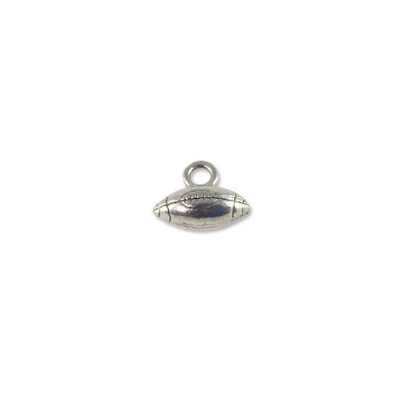 Football Charm for Jewelry Making 14x10mm Pewter Antique Silver Plated (1-Pc)