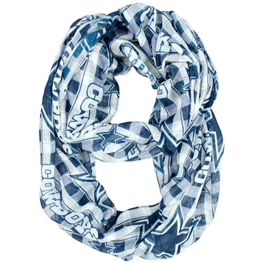 NFL Officially Licensed Dallas Cowboys Plaid Sheer Logo Infinity Scarf