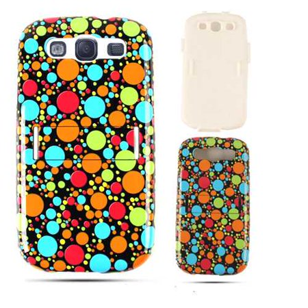 Unlimited Cellular Hybrid Fit On Jelly Case for Samsung Galaxy S3 (Multi-Color Dots on Black) ()