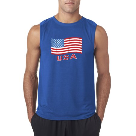 New Way 719 - Men's Sleeveless Usa Flag Distressed Old Glory United States