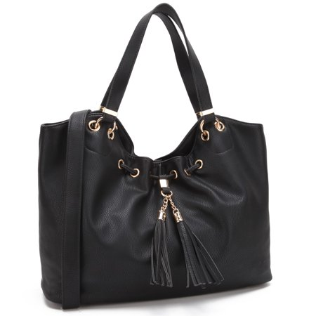 Dasein  Faux Leather Drawstring Satchel Handbag with Fringe Tassel